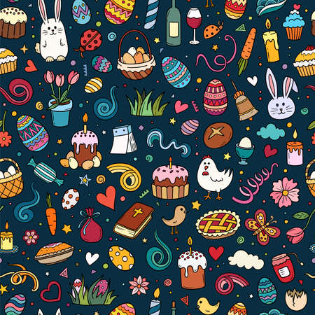 Colorful hand drawn vector doodle seamless pattern of traditional Easter items. Cartoon sketch background for textiles, banner, wrapping paper and other designs.