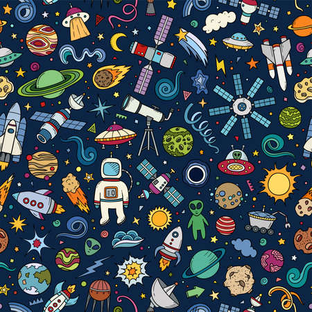 Colorful hand drawn vector doodle seamless pattern of Space symbols and objects. Cartoon sketch background for textiles, banner, wrapping paper and other designs.  イラスト・ベクター素材