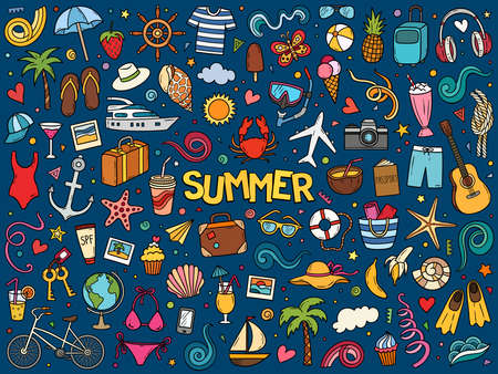 Colorful hand drawn vector doodle set of summer and vacation. Cartoon travel sketch illustration for postcard, banner, poster and etc.