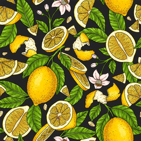 Healthy seamless pattern with whole lemon, slices pieces, half, flower, seed and leaves isolated on dark background. Natural fruit background for textiles, banner, wrapping paper and other designs
