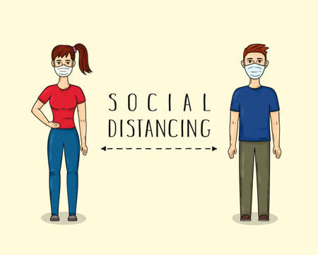 Social distancing. Man and woman keep a distance in public society wearing medical masks to protect from COVID-19. Cartoon character. Health care hand drawn illustration