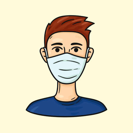 Man wearing medical masks to protect from COVID-19 and other infections. Cartoon character. Health care hand drawn illustration