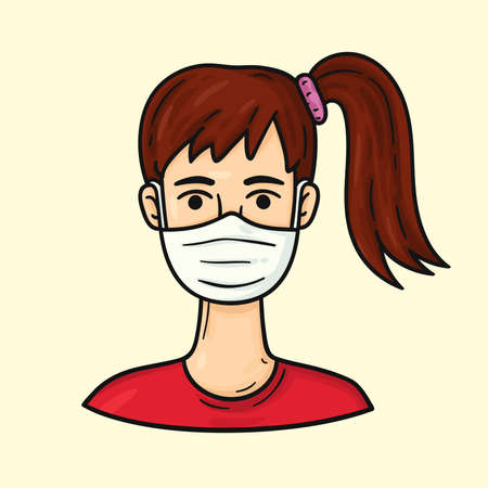 Girl wearing medical masks to protect from COVID-19 and other infections. Cartoon character. Health care hand drawn illustration  イラスト・ベクター素材