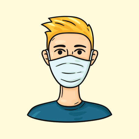 Blond man wearing medical masks to protect from COVID-19 and other infections. Cartoon character. Health care hand drawn illustration