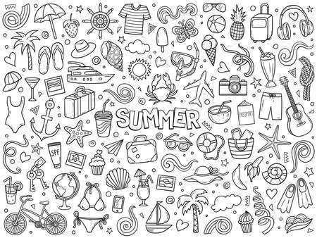 Cartoon hand drawn vector doodle set of summer and vacation. Ink style sketch illustration for postcard, banner, greeting card, poster and etc.