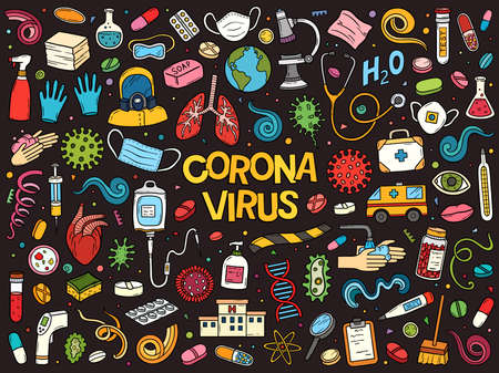 Hand drawn vector doodle set of Coronavirus Covid-19 outbreak. Colorful sketch illustration with Healthcare and quarantine symbols.  イラスト・ベクター素材