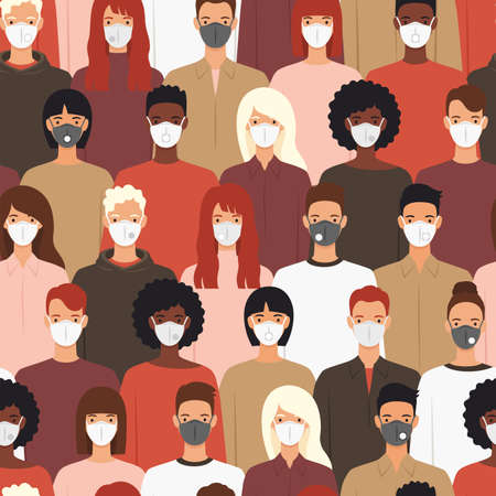 Seamless pattern of people wearing protective medical masks prevention diseases, flu, coronavirus, air pollution. Vector illustration in a flat style.