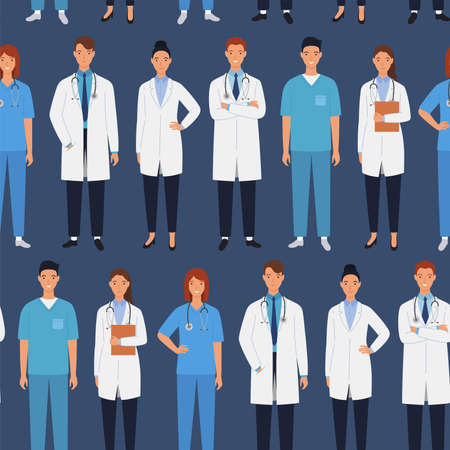 Seamless pattern of medical staff doctors and nurses. Men and women doctors group. Medical team concept vector illustration in a flat style.  イラスト・ベクター素材