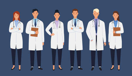 Medical staff of doctors. Men and women doctors group. Medical team concept vector illustration in a flat style.