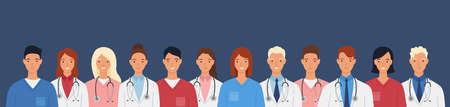 Medical staff of doctors and nurses. Men and women doctors group. Medical team concept vector illustration in a flat style.