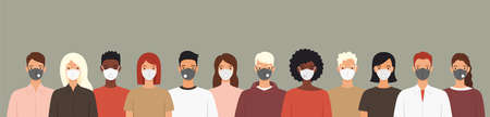 Group of people wearing protective medical masks prevention diseases, flu, coronavirus, air pollution. Vector illustration in a flat style.