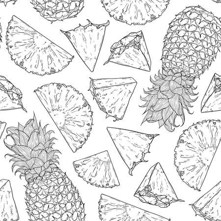 Fruit seamless pattern with whole pineapple and slices pieces. Natural tropical background for textiles, banner, wrapping paper and other designs