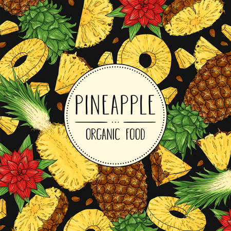 Vector hand drawn banner with whole pineapple, slices pieces, half, flower and seed isolated on dark background. Vector tropical illustration for shop, market, book, emblem, menu, label.  イラスト・ベクター素材