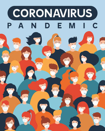 Coronavirus Covid-19 pandemic. Group of people wearing protective medical masks. Vector illustration in a flat style.