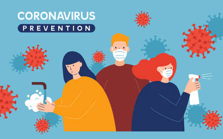 Coronavirus Covid-19 prevention instructions: wash hands, wearing face mask and sanitizing. Pandemic or epidemic vector illustration in a flat style. Cartoon characters quarantine art.