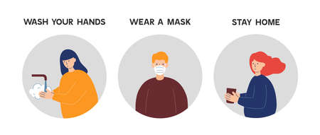 Coronavirus Covid-19 prevention instructions: wash hands, wearing face mask and stay home. Pandemic or epidemic vector illustration in a flat style.