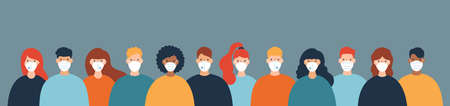Group of men and women wearing protective medical masks prevention diseases, flu, coronavirus, air pollution. Vector illustration in a flat style. 向量圖像