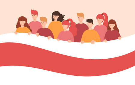 Group of people holding Belarus opposition white-red-white flag. Protest from dictatorship, support for human rights. Vector illustration in a flat style.