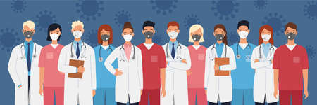 Medical staff of doctors and nurses wearing protective medical masks. Men and women doctors group. Medical team concept vector illustration in a flat style. 向量圖像