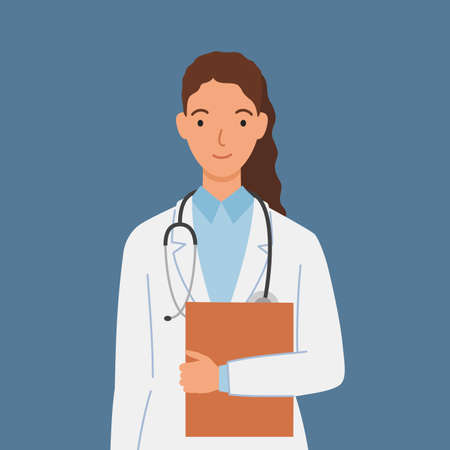 Female doctor in white medical gown with a stethoscope and folder. Vector illustration in a flat style.