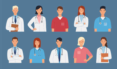 Medical staff of doctors and nurses. Male and female doctors group. Medical team concept vector illustration in a flat style. 向量圖像