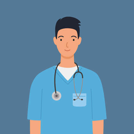 Male nurse in blue medical robe with a stethoscope. Vector illustration in a flat style. 向量圖像