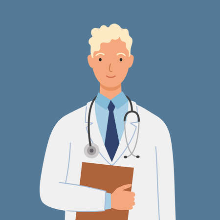 Male doctor in white medical gown with a stethoscope and folder. Vector illustration in a flat style.