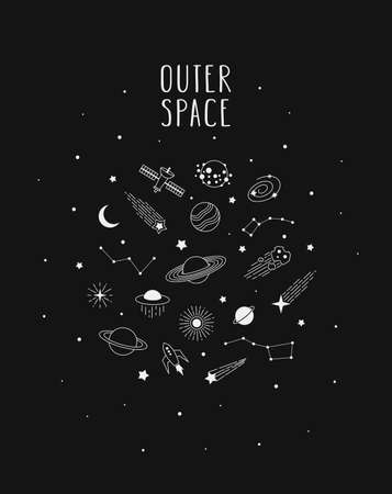 Hand drawn vector doodle of Space: planets, comets, constellations, rocket, satellite, stars and other. Nignt sky sketch illustration for t-shirt prints, posters, postcards and other designs.