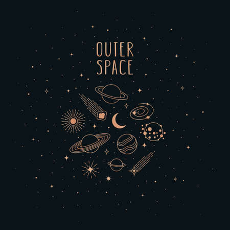 Hand drawn vector doodle of Space objects and symbols: planets, asteroids, galaxy, sun, moon and stars. Cartoon sketch background for t-shirt prints, posters, postcards and other designs. 向量圖像