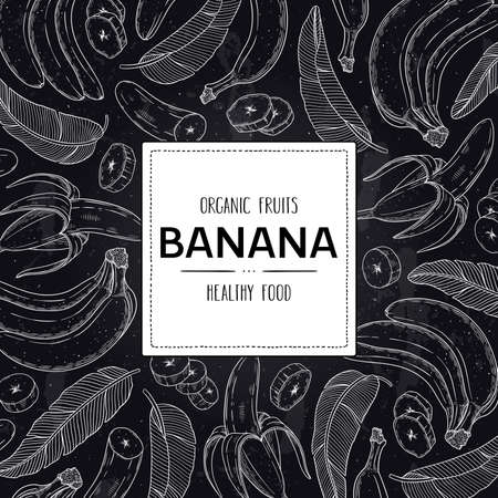 Vector hand drawn tropical frame with organic banana, slices pieces, bunch, leaves and label. Healthy doodle sketch illustration in chalkboard style. 向量圖像