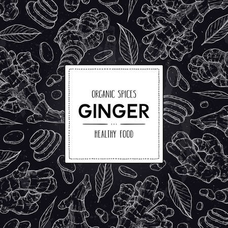 Vector chalkboard style spices frame with organic ginger root, slices pieces, leaves and label. Healthy hand drawn doodle sketch illustration. 向量圖像