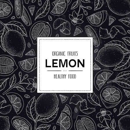 Vector chalkboard style frame with organic whole lemon, slices pieces, half, seed, flower, leaves and label. Citrus hand drawn doodle sketch illustration. 向量圖像