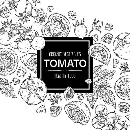 Vector hand drawn background with natural tomatoes, slices, half, flower, branch with leaves and cherry tomatoes. Outline ink style illustration.
