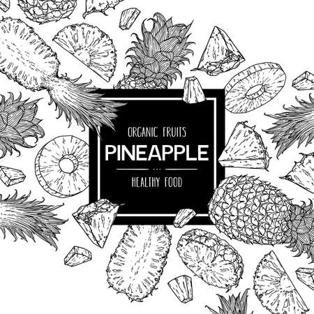 Vector hand drawn background with natural whole pineapple, slices pieces and half. Outline ink style illustration.