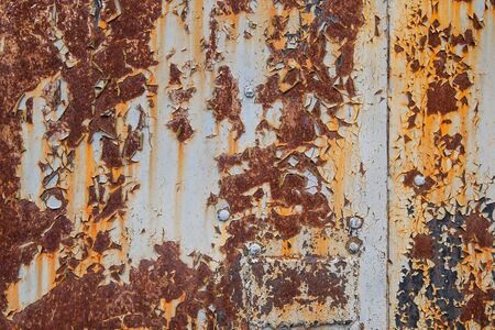 textured rough old sheet of metal painted with splashes rusted grunge background Imagens