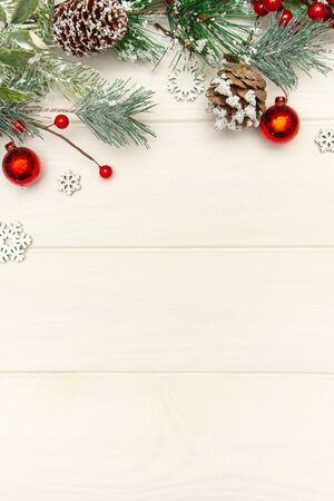 Christmas new Year background from decorations on a white wooden background