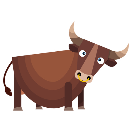Brown bull with large horns.