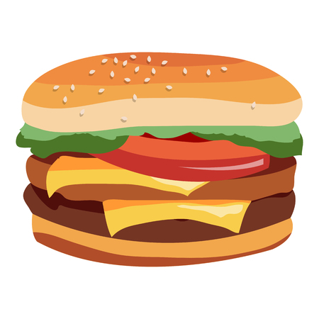 Delicious Burger with a juicy beef. Design for your menu. Vector illustration isolated on white background.
