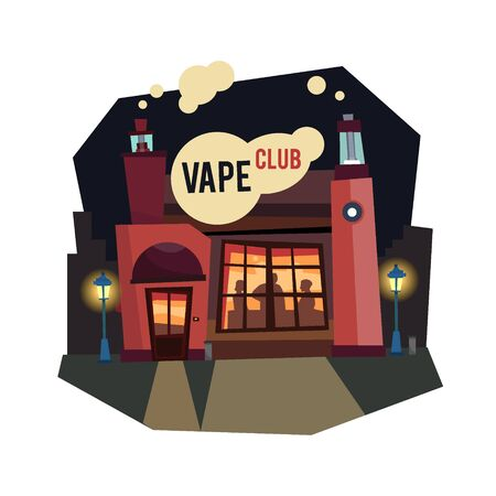 vaporize: Vape club electronic cigarettes flat style with a cloud of steam. Night option. Vector illustration. Illustration