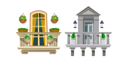 Set of beautiful balconies with plants and flowers. Vector illustration isolated on white background. Illustration