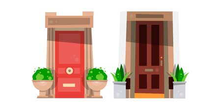 doorstep: Set of two bright front doors and potted plants. Vector illustration. Illustration