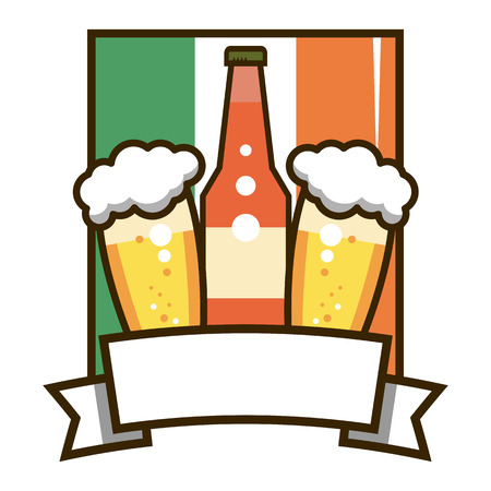 Label Irish beer. Bottle and two glasses. Vector illustration isolated on white background. Illustration