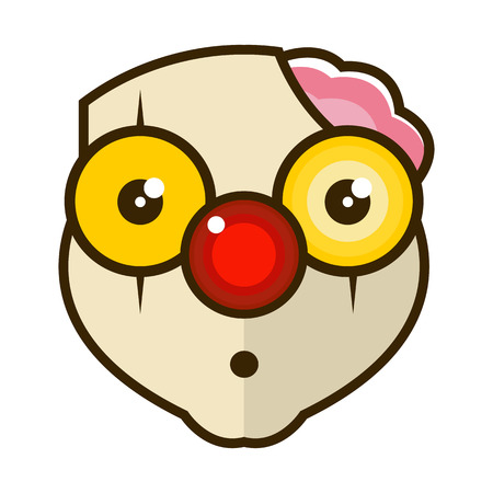 Head of a sad clown with a broken head and protruding brain. Vector illustration isolated on white background.