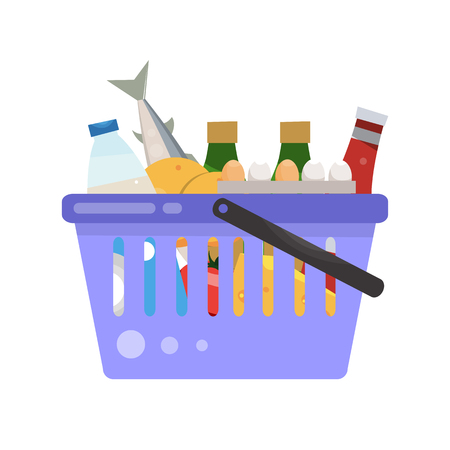 heaviness: Basket with shopping. The set of goods. Vector illustration isolated on white background.