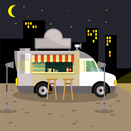 car for sale: The American hot dog. A truck with a kitchen. Car for sale fast food. Cafe on wheels. Vector illustration. Illustration
