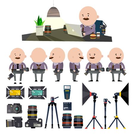 The man with the cameras. People designer. Icons with different face types. A set of photographic equipment. Softbox. Lenses. Charger. Vector illustration isolated on white background.
