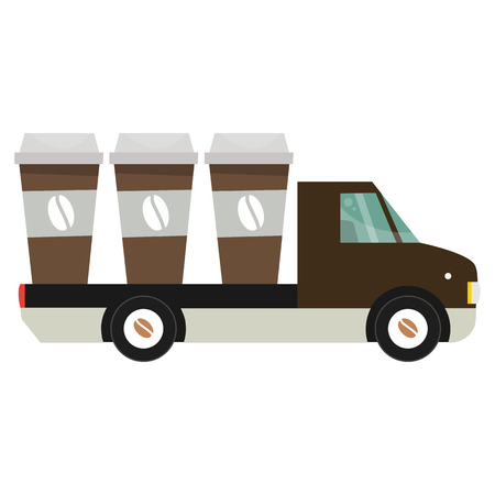 car for sale: Car for sale coffee. A hot drink on the road. Vector illustration isolated on white background.