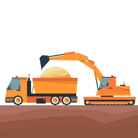 dumptruck: Construction equipment in flat style. Dump truck and excavator. Vector illustration.