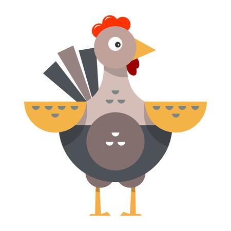 Cartoon funny chicken. Farm bird. Flat style. Vector illustration isolated on white background.