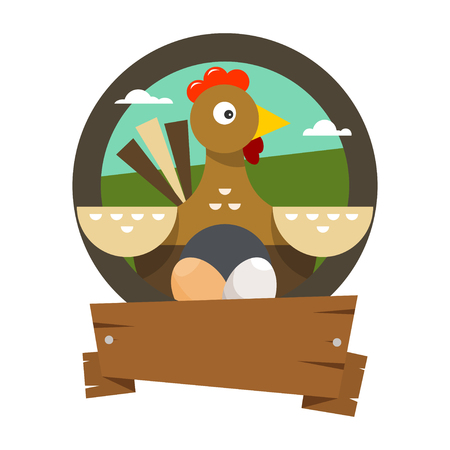 The hen incubates the eggs. Vector illustration in flat style on white background. Illustration